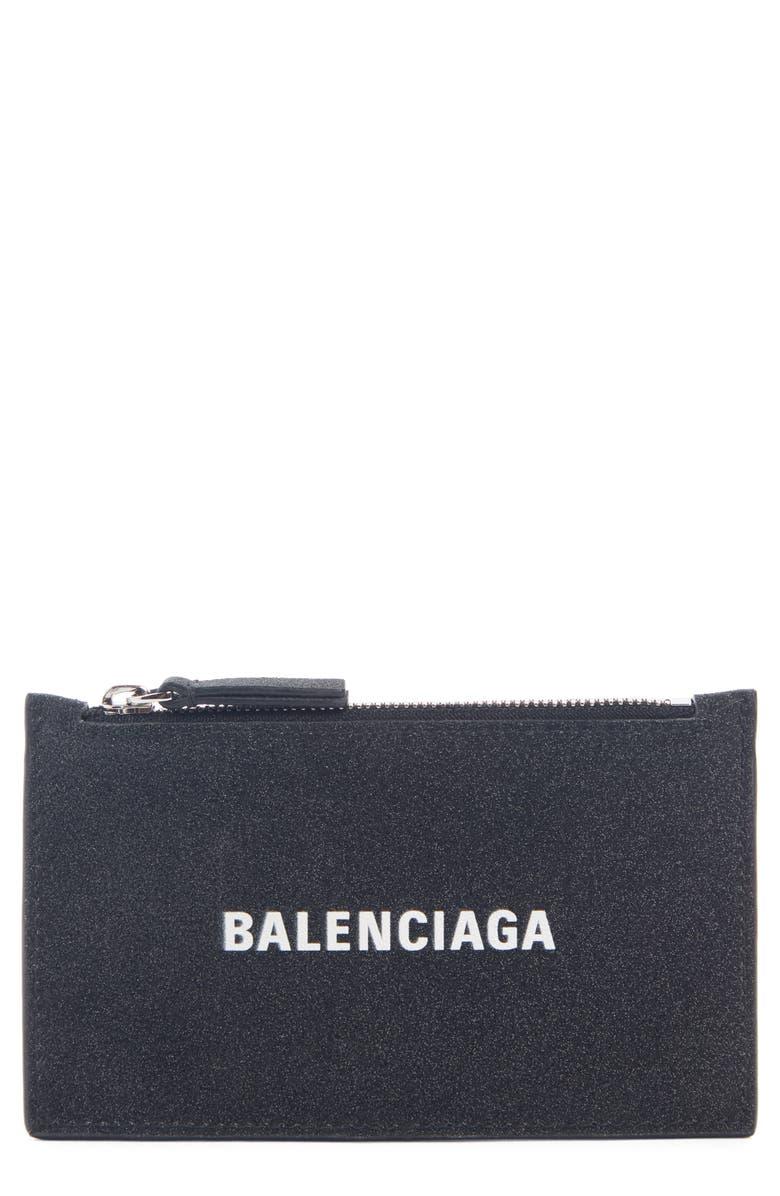 BALENCIAGA Everyday Zip Leather Card Case, Main, color, BLACK