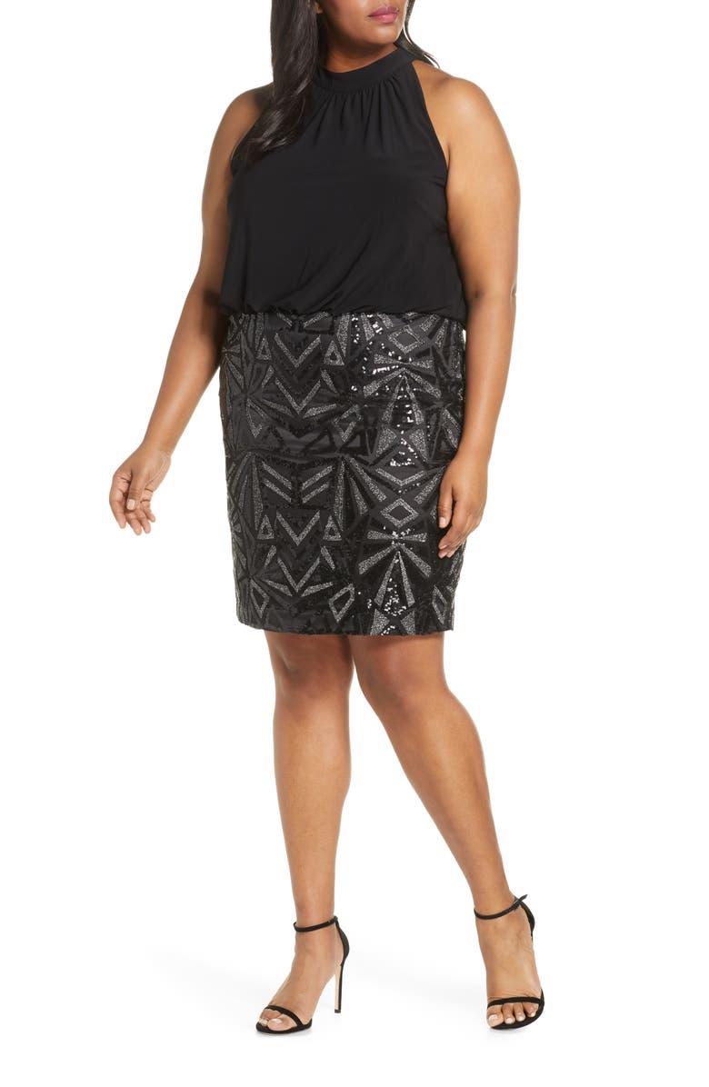 VINCE CAMUTO Halter Neck Geo Embellished Blouson Dress, Main, color, BLACK