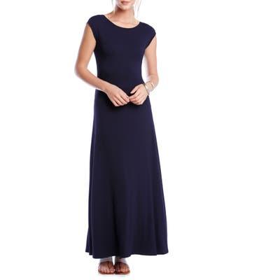 Karen Kane V-Back A-Line Maxi Dress, Blue