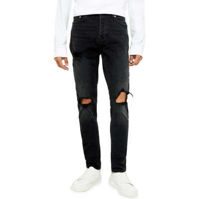 Topman Washed Black Blowout Ripped Skinny Jeans, Black