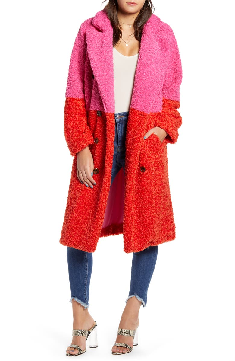 BLANKNYC Arrival Colorblock Faux Fur Coat, Main, color, 650