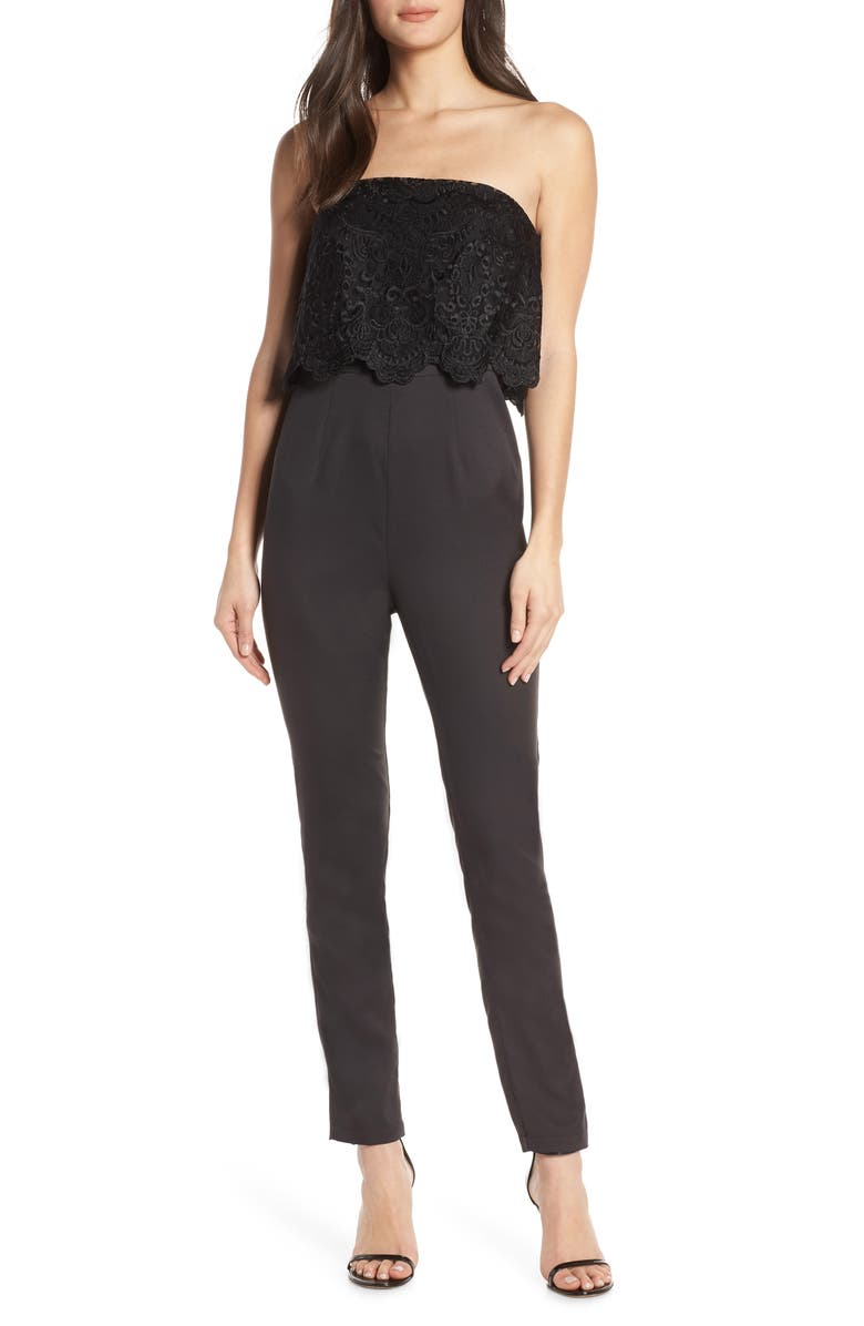 CHI CHI LONDON Emmie Strapless Popover Lace Bodice Jumpsuit, Main, color, 001