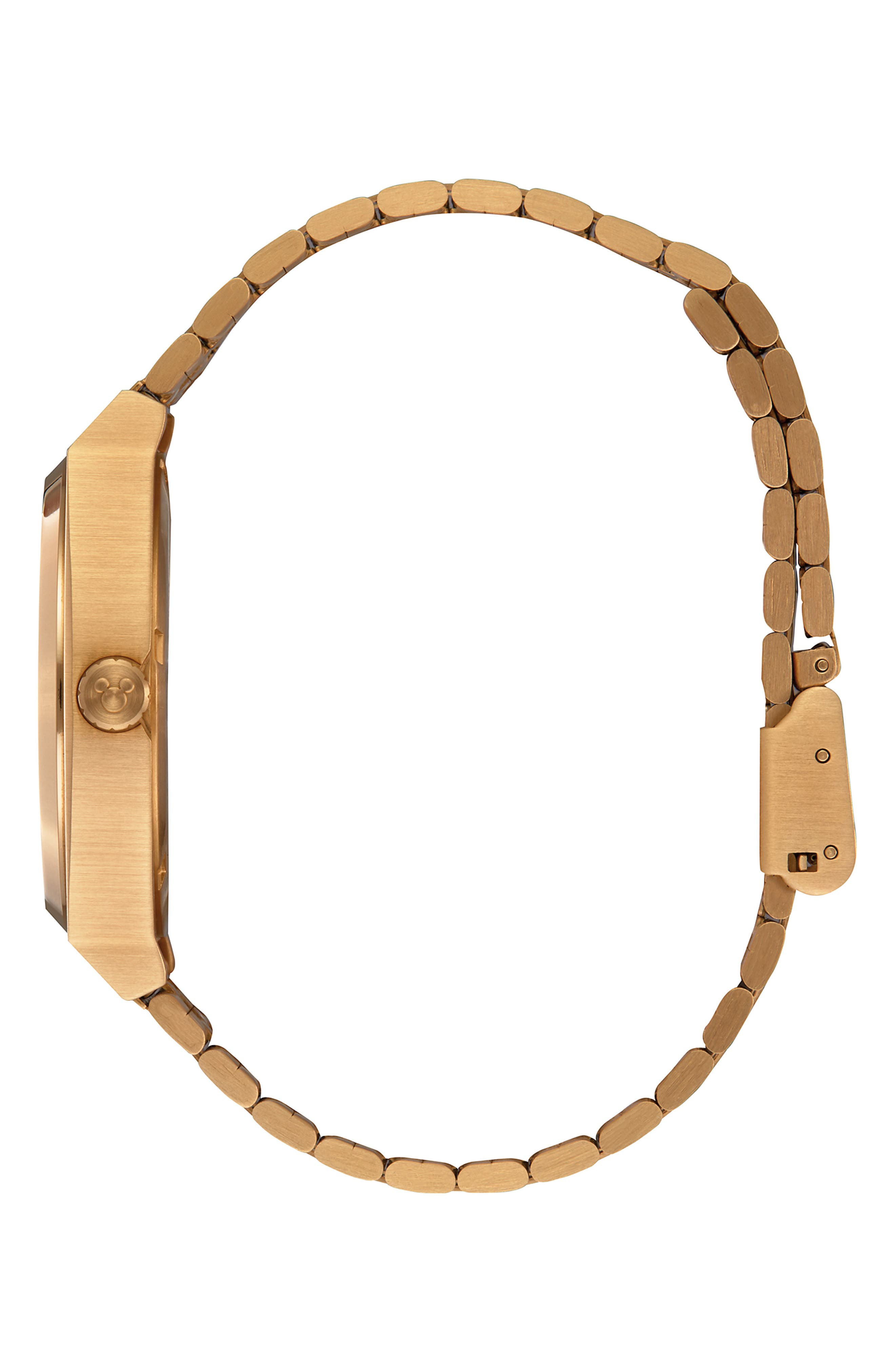 ,                             x Disney Time Teller Mickey Bracelet Watch, 37mm,                             Alternate thumbnail 3, color,                             GOLD/ BLACK/ GOLD
