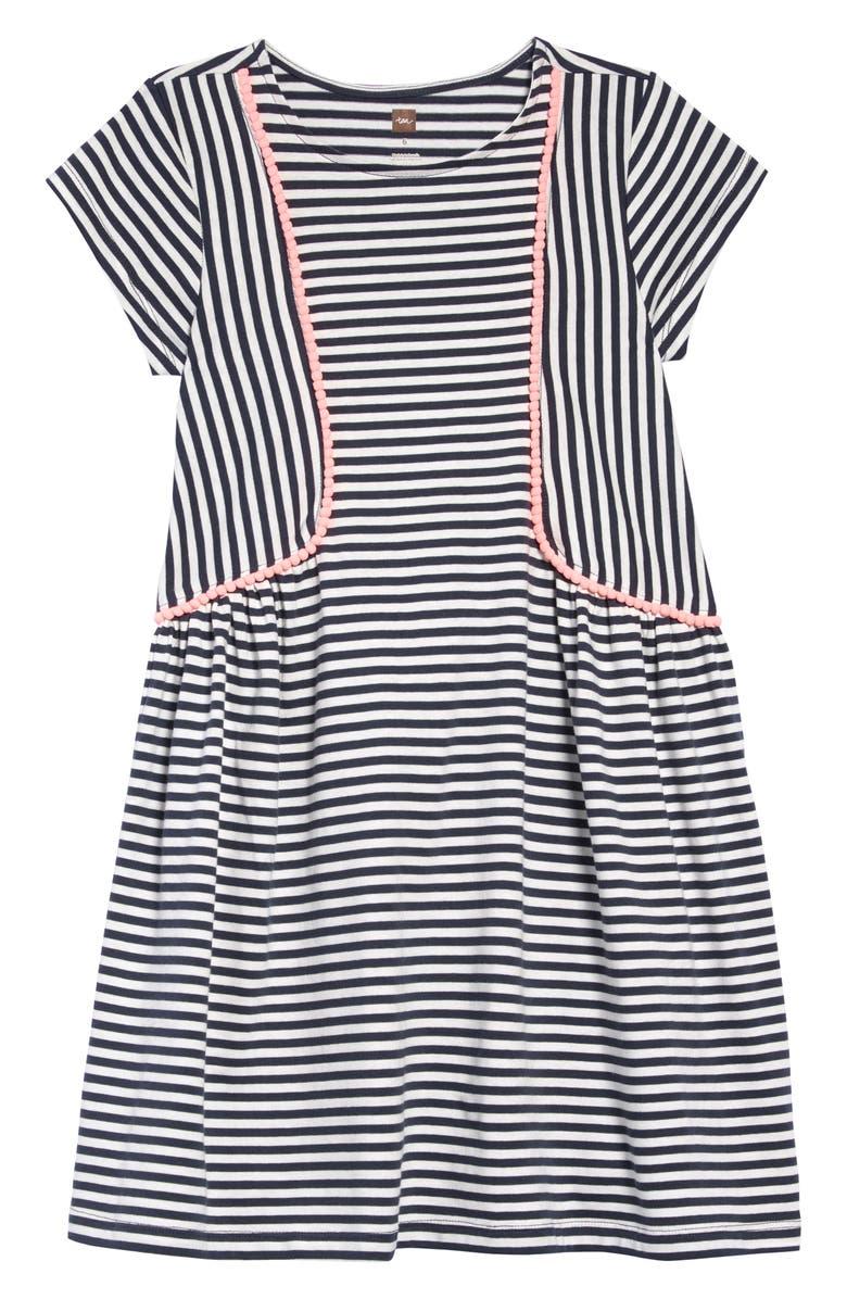 TEA COLLECTION Pom Pom Stripe Dress, Main, color, INDIGO