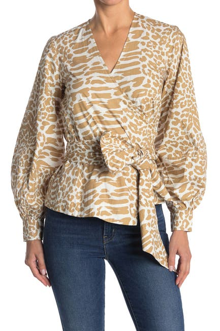 Image of GANNI Printed Puff Sleeve Cotton Poplin Wrap Top