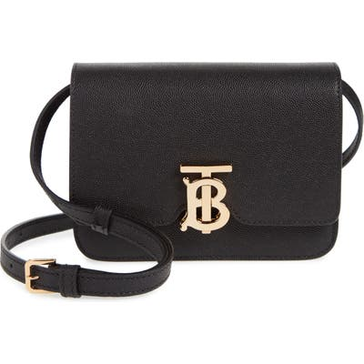 Burberry Mini Tb Monogram Grainy Leather Crossbody Bag - Black