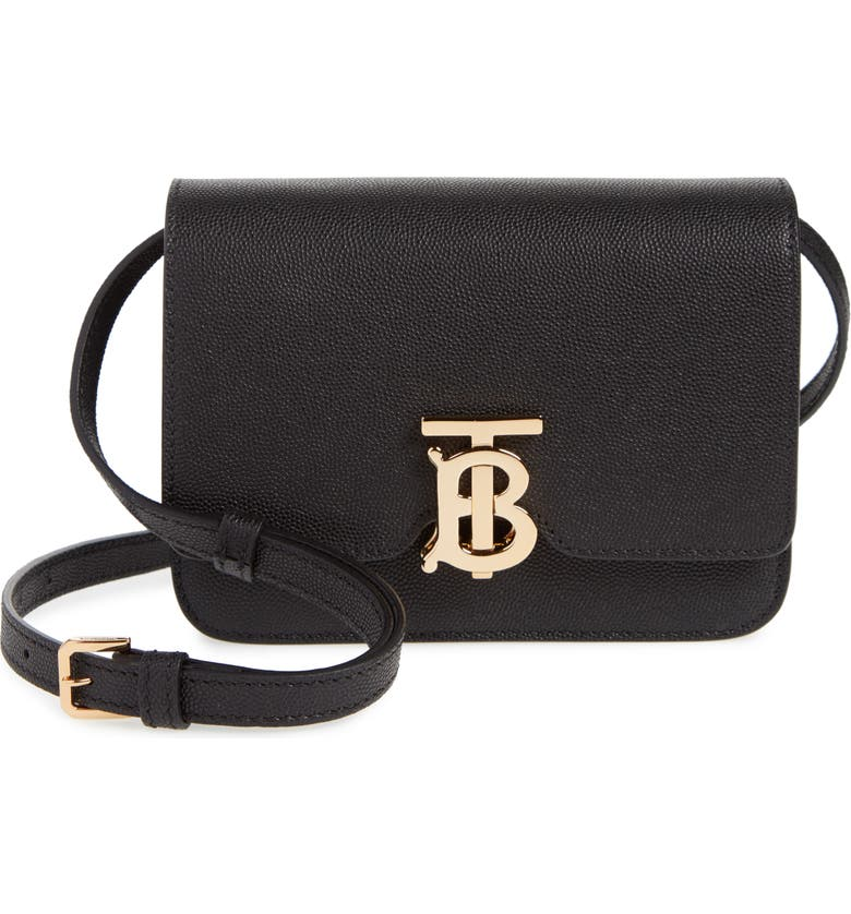 BURBERRY Mini TB Monogram Grainy Leather Crossbody Bag, Main, color, BLACK