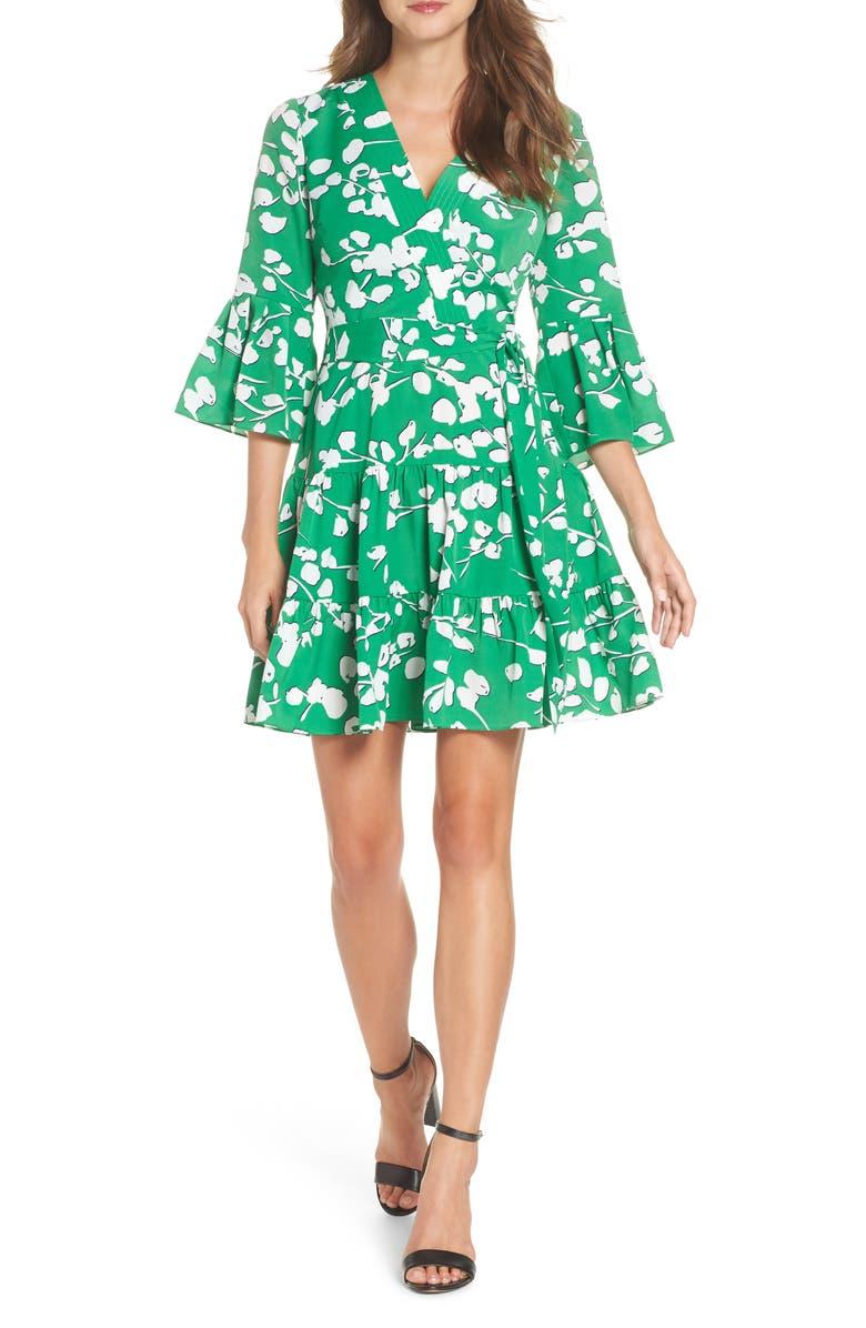 ELIZA J Bell Sleeve Faux Wrap Dress, Main, color, GREEN