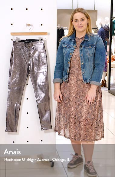 Debbie Metallic Button Fly Skinny Jeans, sales video thumbnail