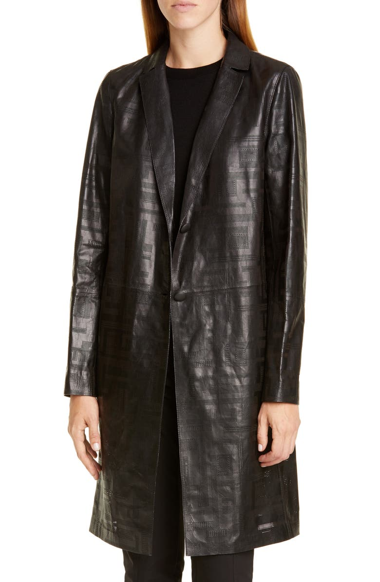 LAFAYETTE 148 NEW YORK Jobelle Laser Cut Lambskin Leather Trench Coat, Main, color, BLACK