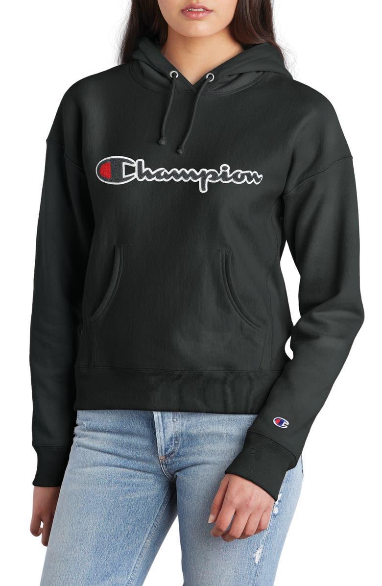 CHAMPION Chenille Logo Reverse Weave Hoodie, Main, color, BLACK