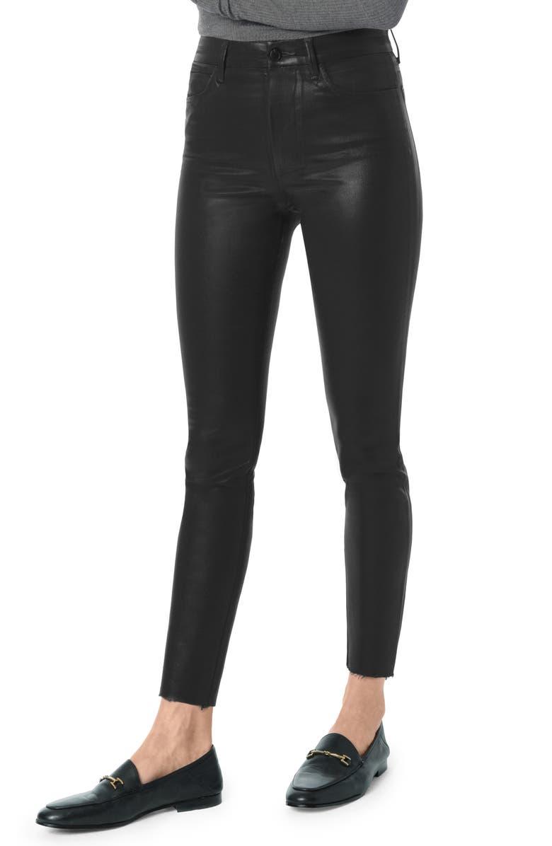 JOE'S Charlie Coated High Waist Ankle Skinny Jeans, Main, color, BLACK