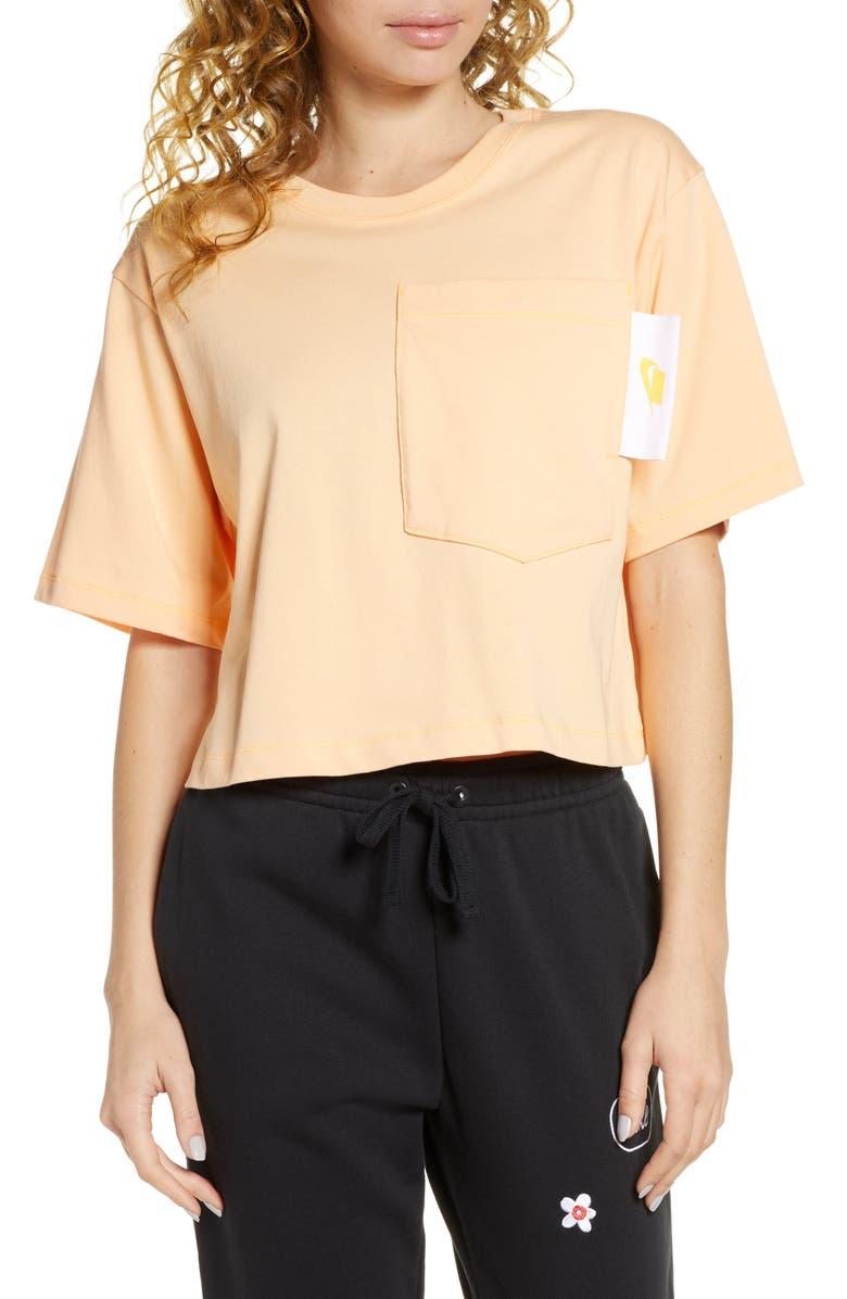 NIKE Sportswear Cotton Crop T-Shirt, Main, color, ORANGE CHALK/ WHITE
