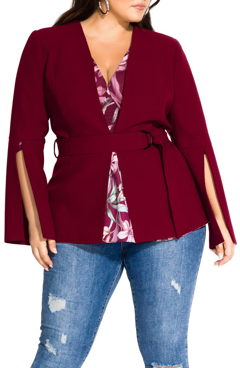 CITY CHIC Belted Jacket, Main, color, DARK CHERRY