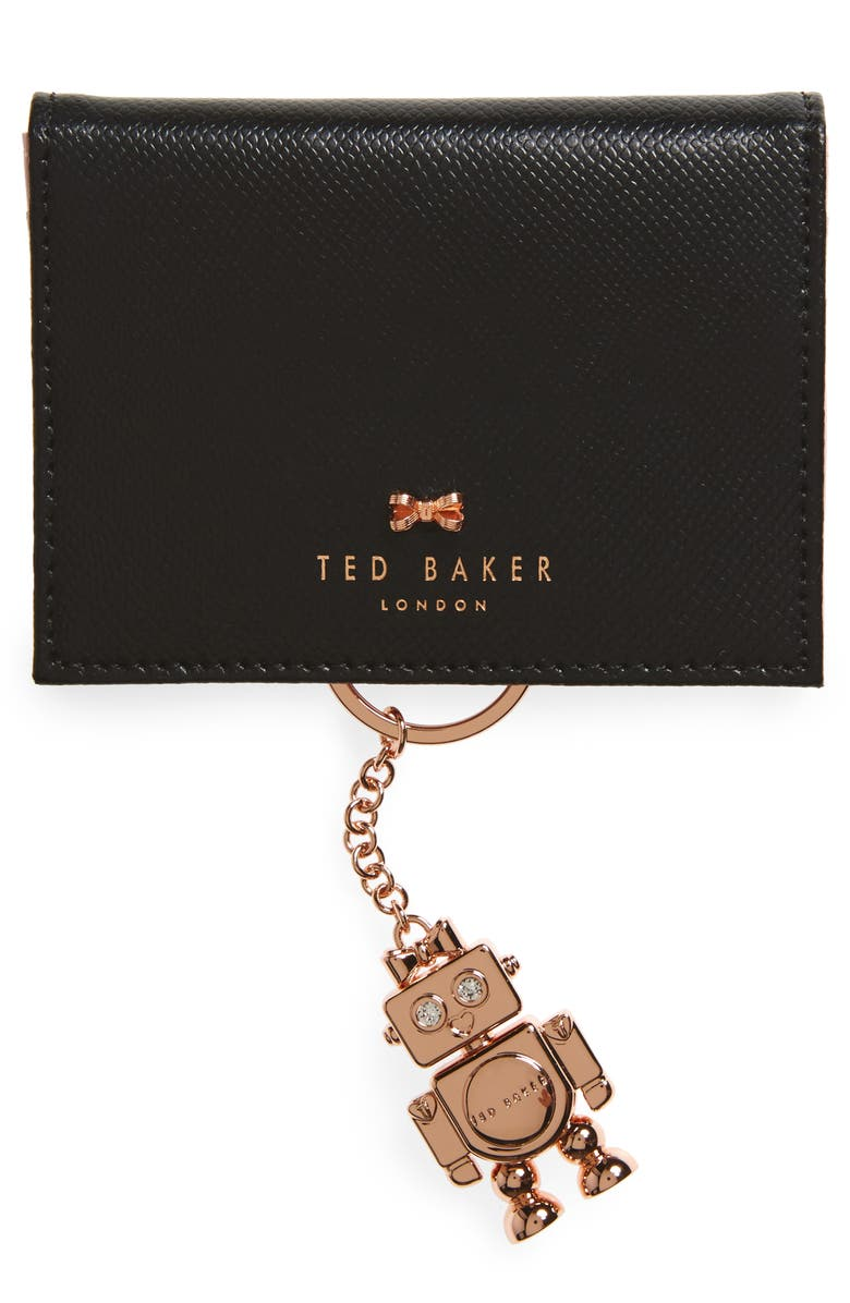 TED BAKER LONDON Leather Card Case with Robot Key Chain, Main, color, 001
