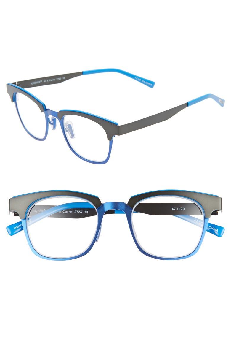 EYEBOBS Al A. Carte 47mm Reading Glasses, Main, color, GUNMETAL/ BLUE