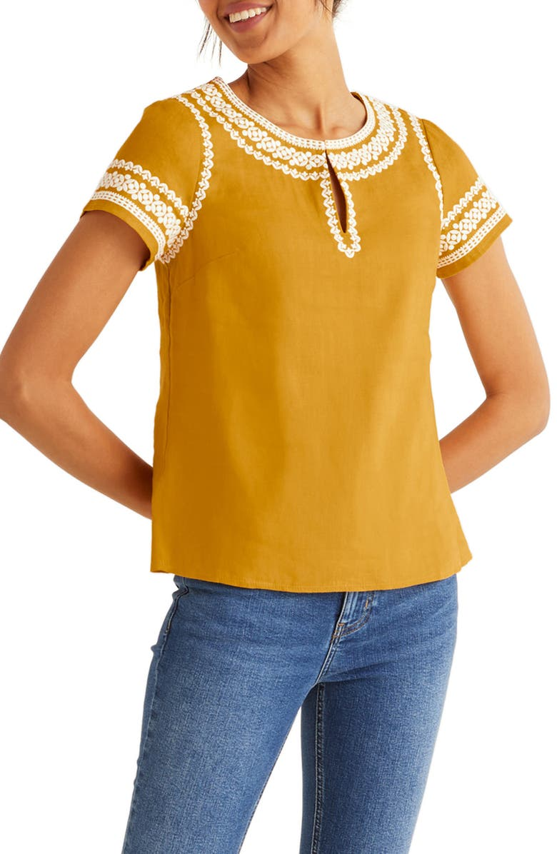 BODEN Laura Embroidered Linen Top, Main, color, DROPPED POLLEN