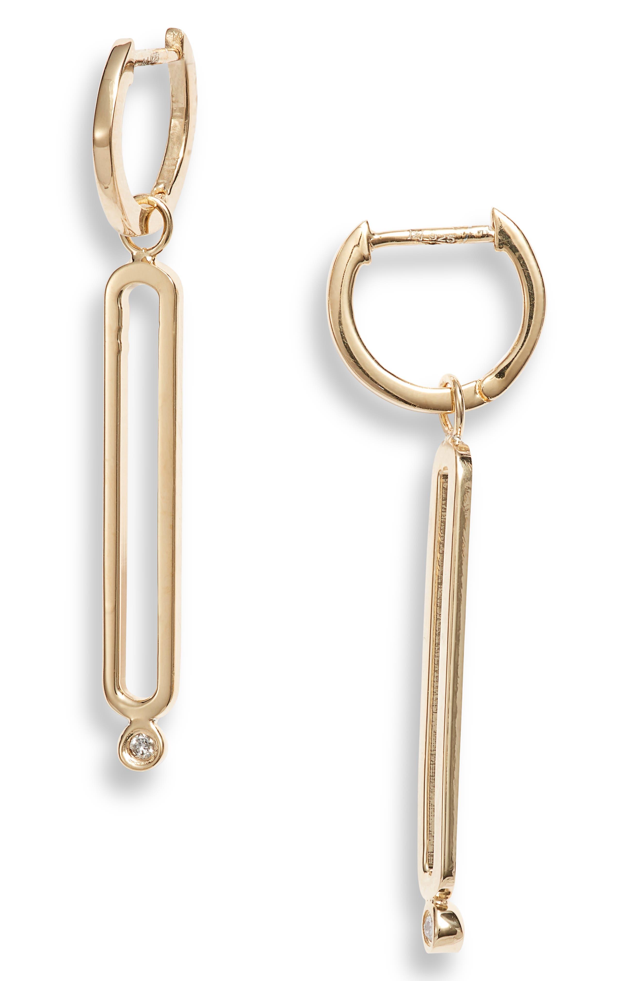 Mel Diamond Huggie Hoop Drop Earrings