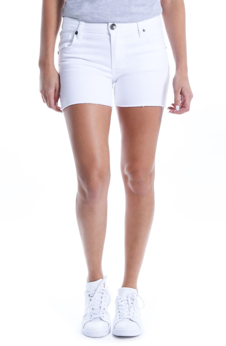 KUT FROM THE KLOTH Gidget Raw Hem Shorts, Main, color, OPTIC WHITE
