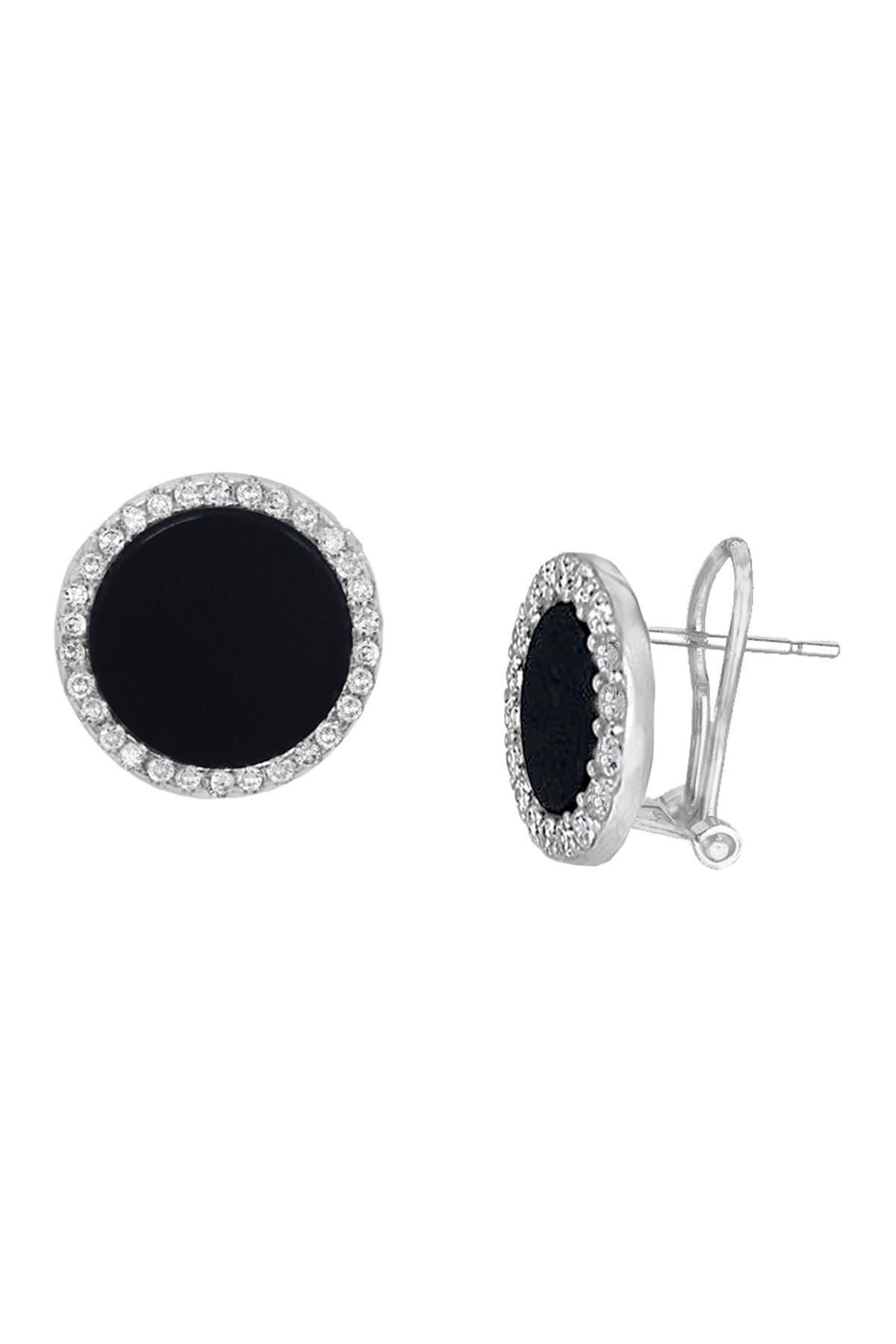 Image of Savvy Cie Sterling Silver Black Onyx & Cubic Zirconia Halo Stud Earrings