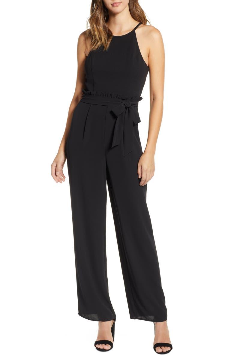 SPEECHLESS Crepe Paperbag Waist Jumpsuit, Main, color, BLACK