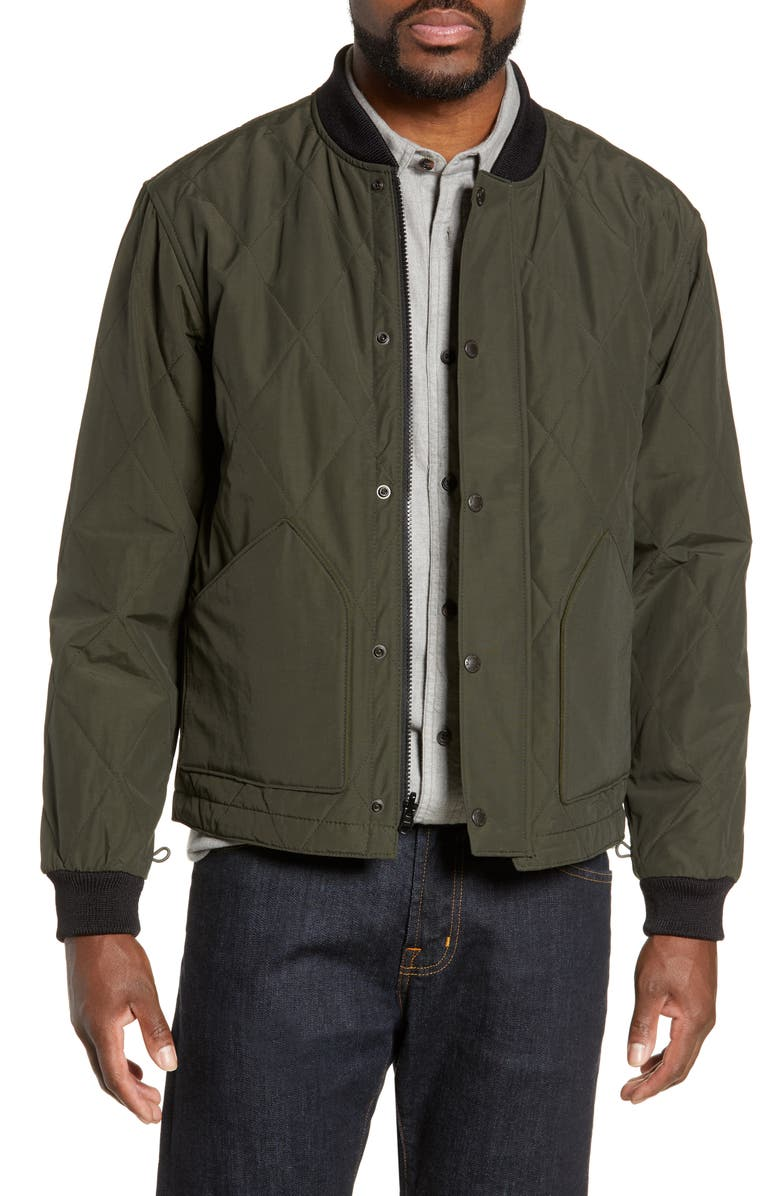 FILSON Quilted Pack Water-Resistant Jacket, Main, color, DARK OTTER GREEN