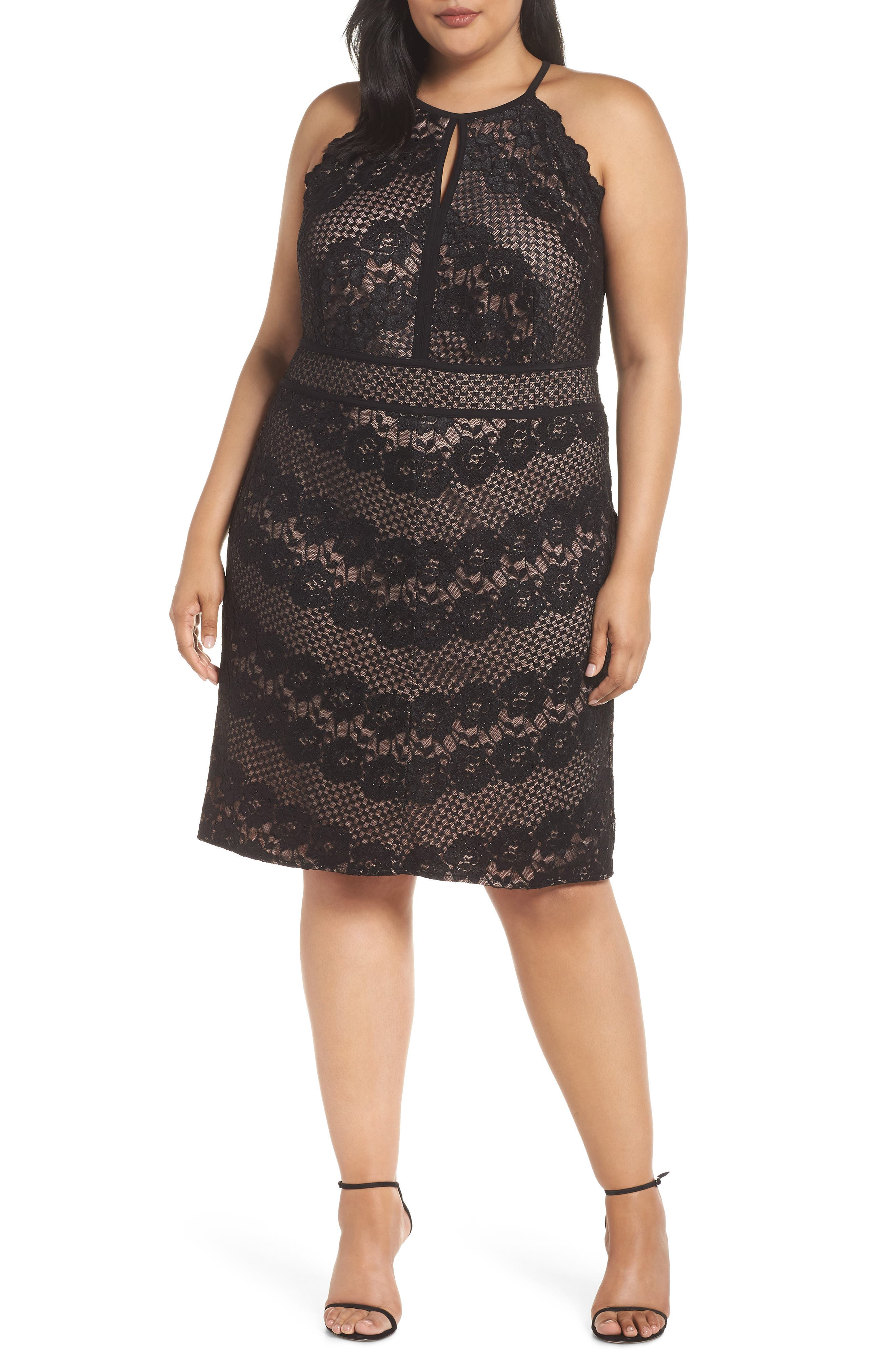 ,                             Mitered Lace Halter Dress,                             Main thumbnail 1, color,                             BLACK/ NUDE