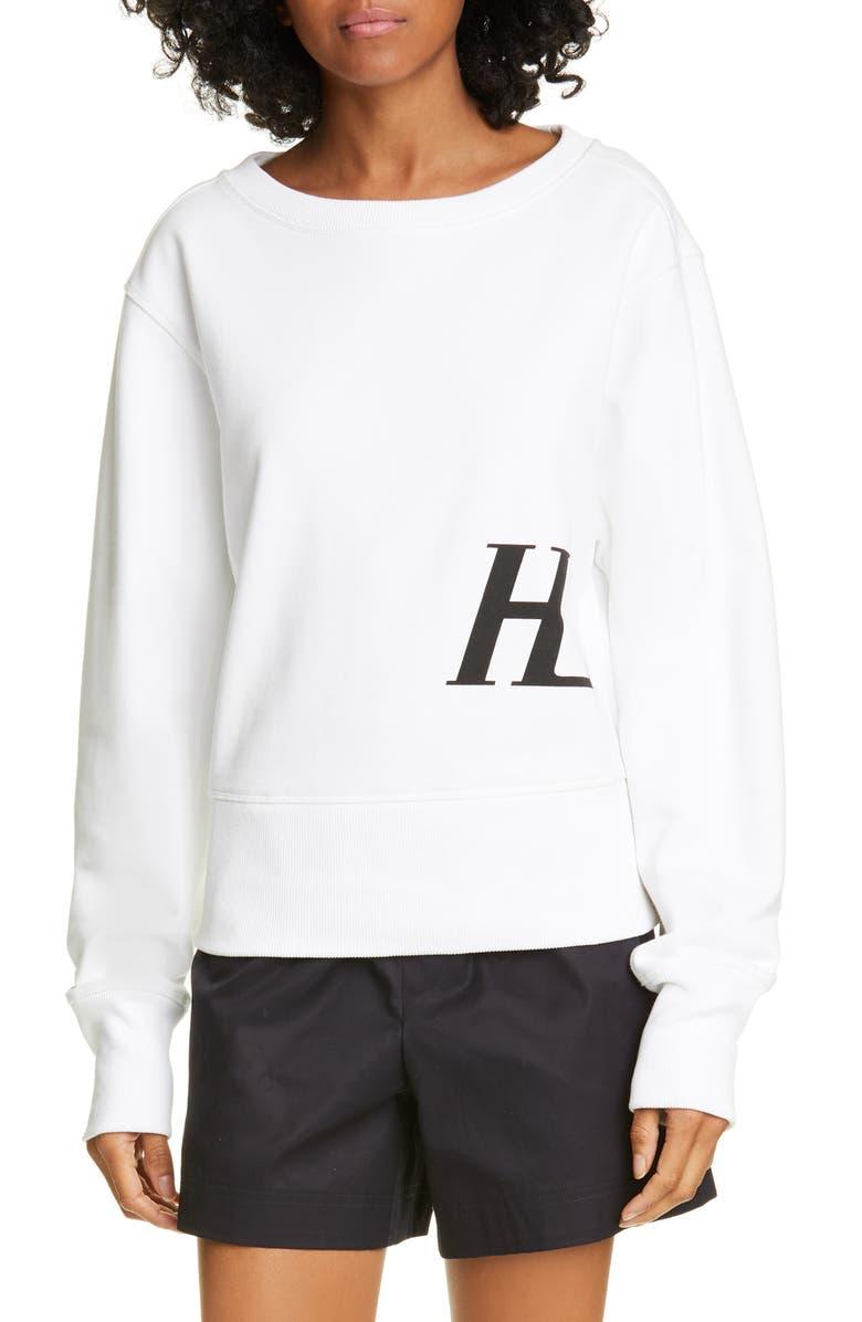 HELMUT LANG Logo Sweatshirt, Main, color, CHALK WHITE