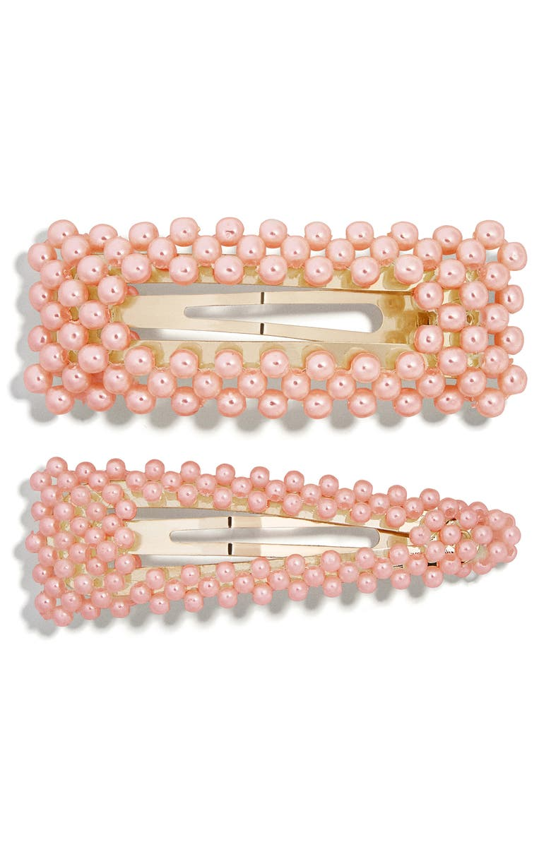 BAUBLEBAR Scarlett Set of 2 Hair Clips, Main, color, PINK