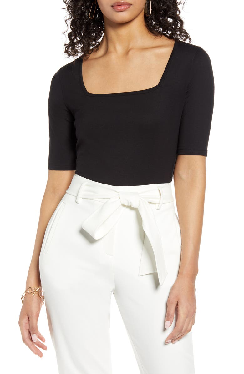 HALOGEN<SUP>®</SUP> Square Neck Knit Top, Main, color, BLACK