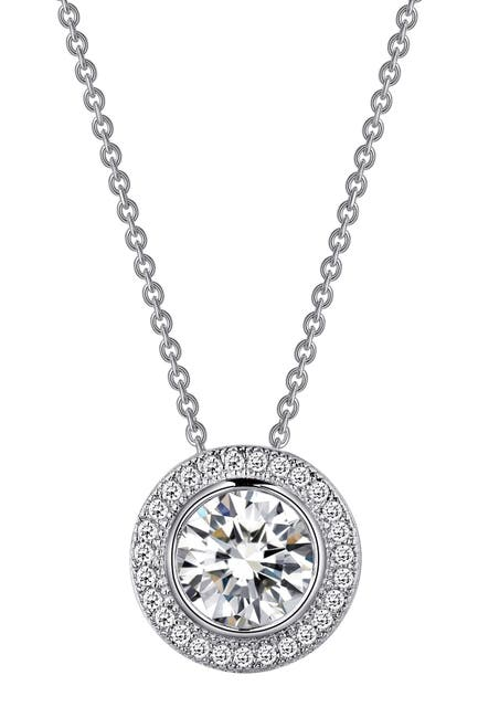 Image of LaFonn Platinum Plated Sterling Silver Simulated Diamond Halo Pendant Necklace