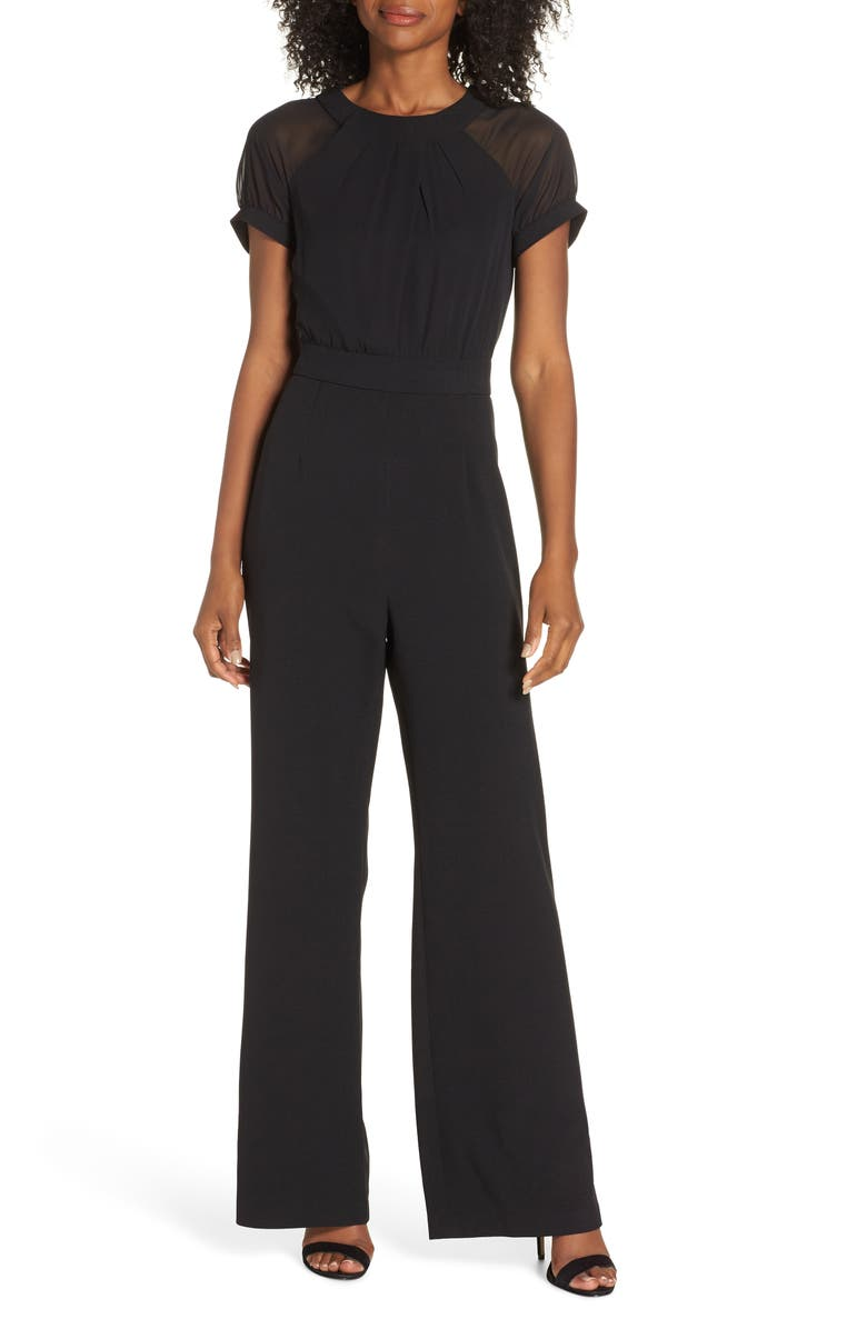 VINCE CAMUTO Crepe Jumpsuit, Main, color, BLACK
