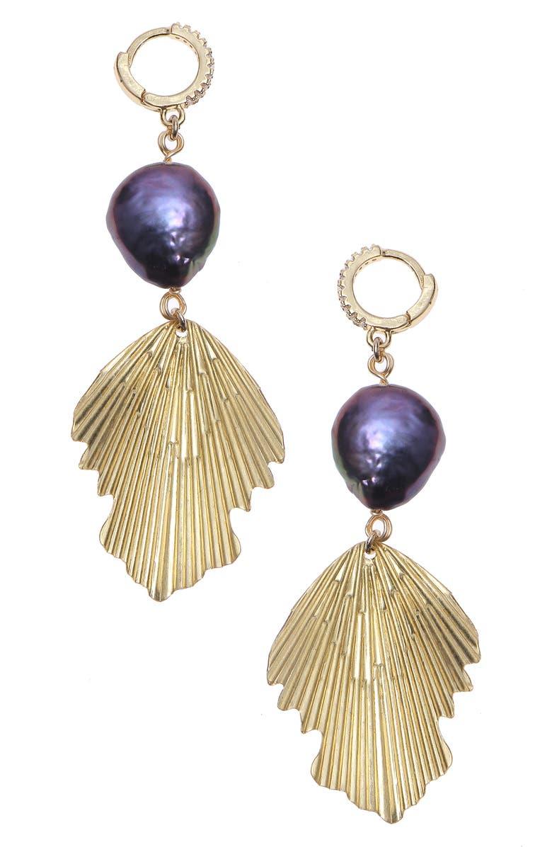 NAKAMOL CHICAGO Genuine Freshwater Pearl Drop Earrings, Main, color, GREY PEARL GOLD
