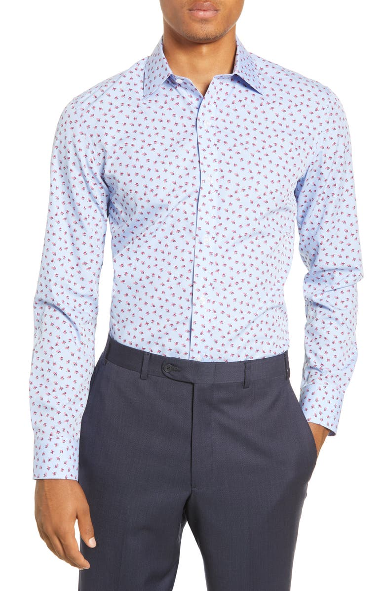 BONOBOS Slim Fit Floral Dress Shirt, Main, color, BLOOMING BUDS - DEEP BERRY