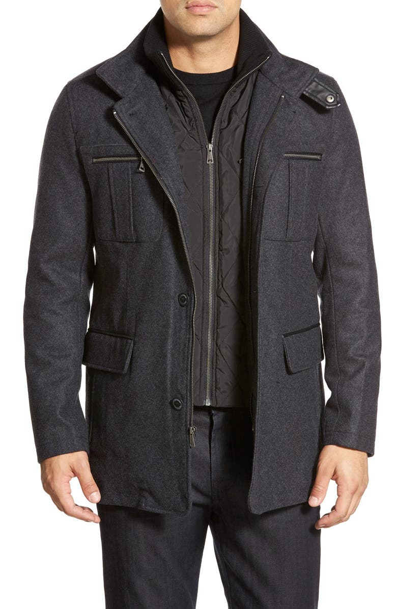 COLE HAAN Wool Blend Jacket, Main, color, CHARCOAL
