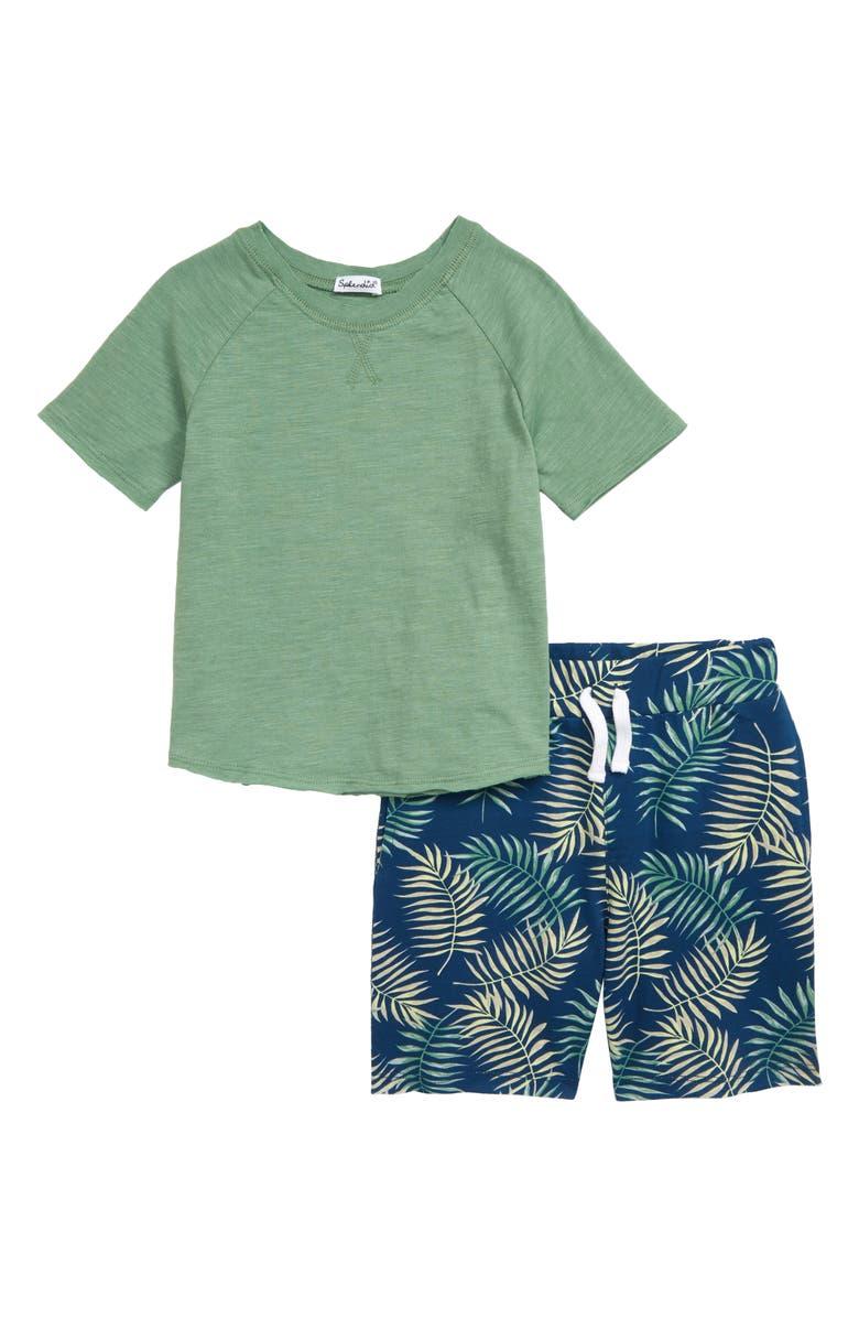 SPLENDID T-Shirt & Palm Print Shorts Set, Main, color, 310