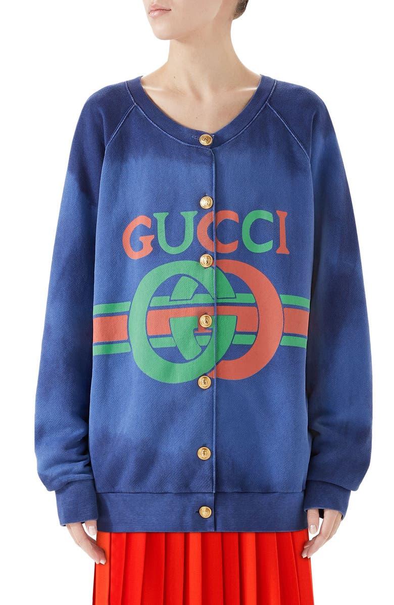 GUCCI Logo Tie Dye Cotton Jersey Cardigan, Main, color, BLUE
