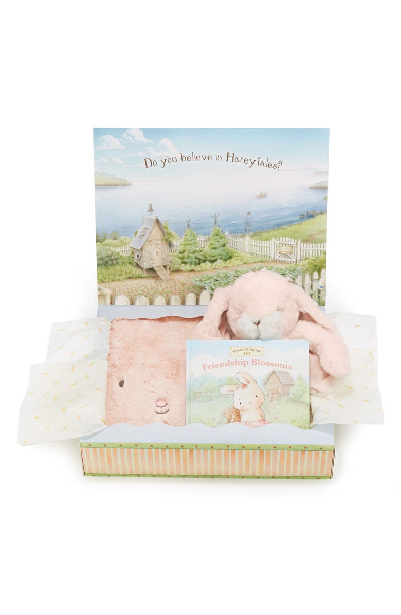 BUNNIES BY THE BAY Blossom Tuck Me In Blanket, Stuffed Animal & Book Set, Main, color, PINK