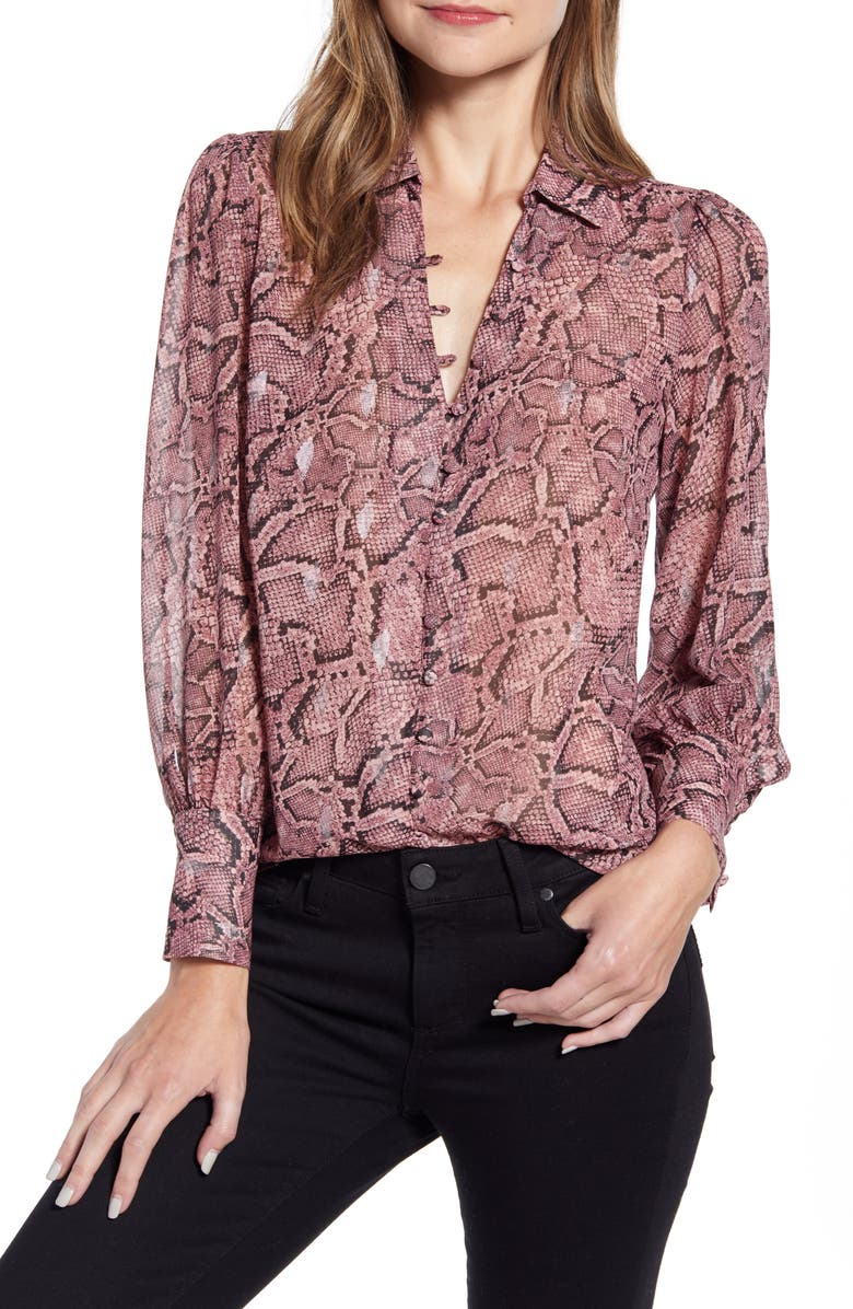 1.STATE Snakeskin Print Button Front Blouse, Main, color, MAHOGANY