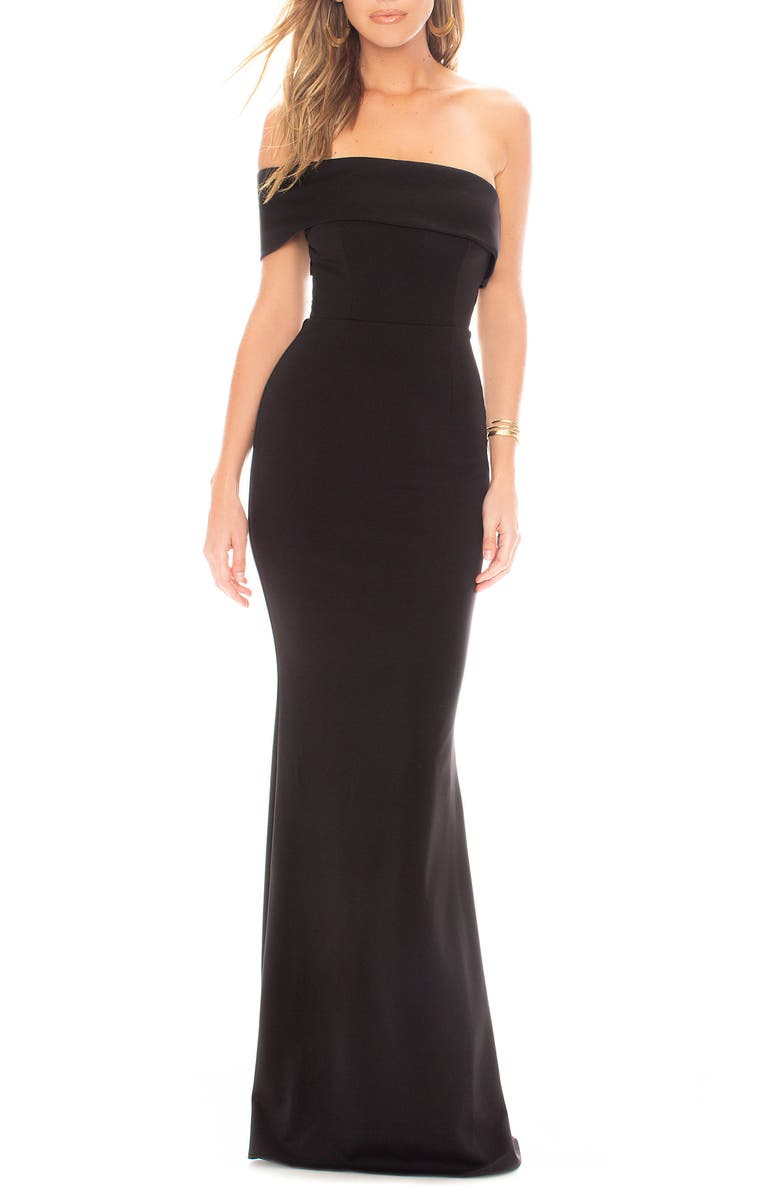 KATIE MAY Titan One-Shoulder Cutout Crepe Gown, Main, color, BLACK