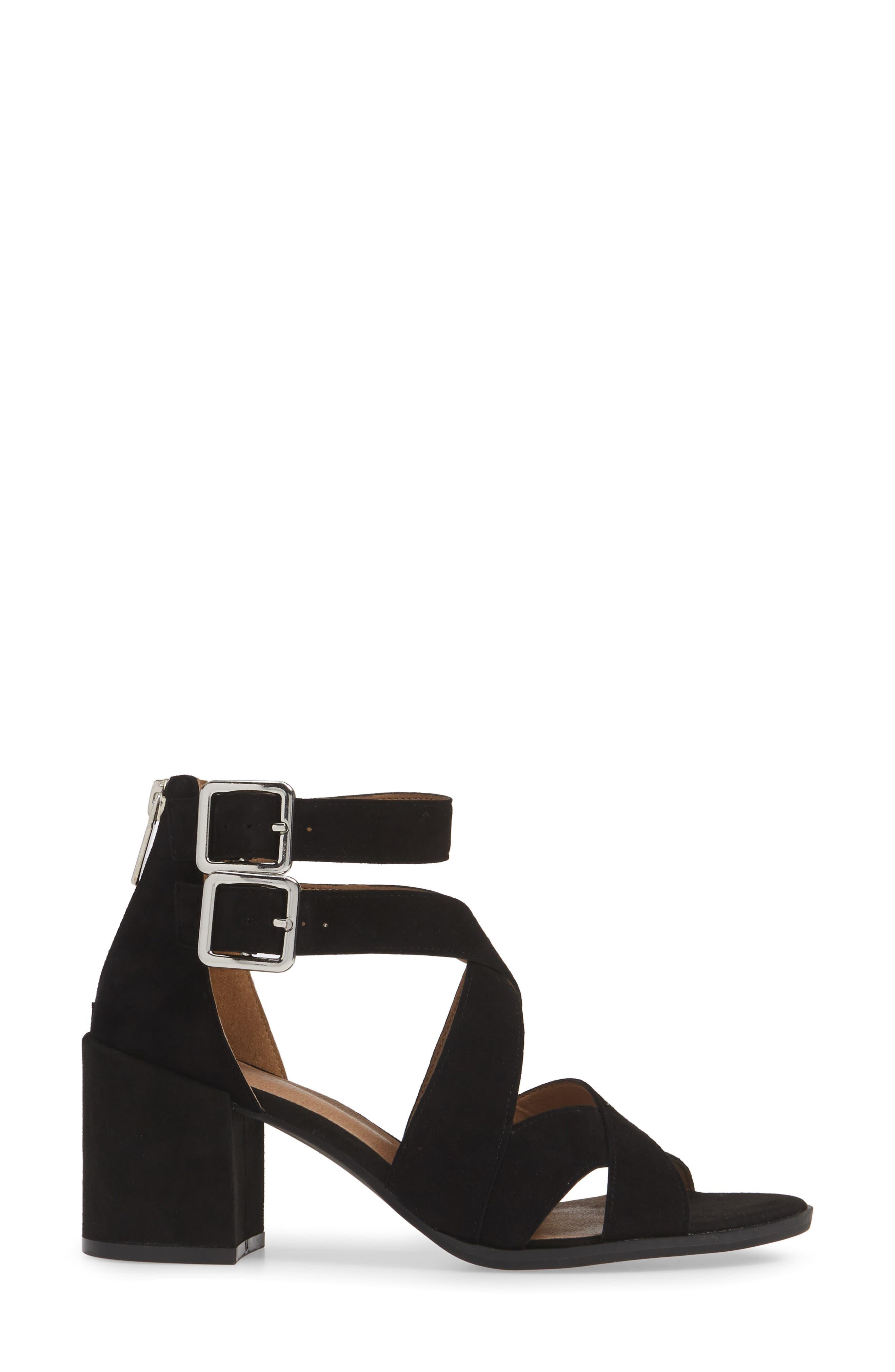 ,                             Izzy Block Heel Sandal,                             Alternate thumbnail 3, color,                             BLACK SUEDE