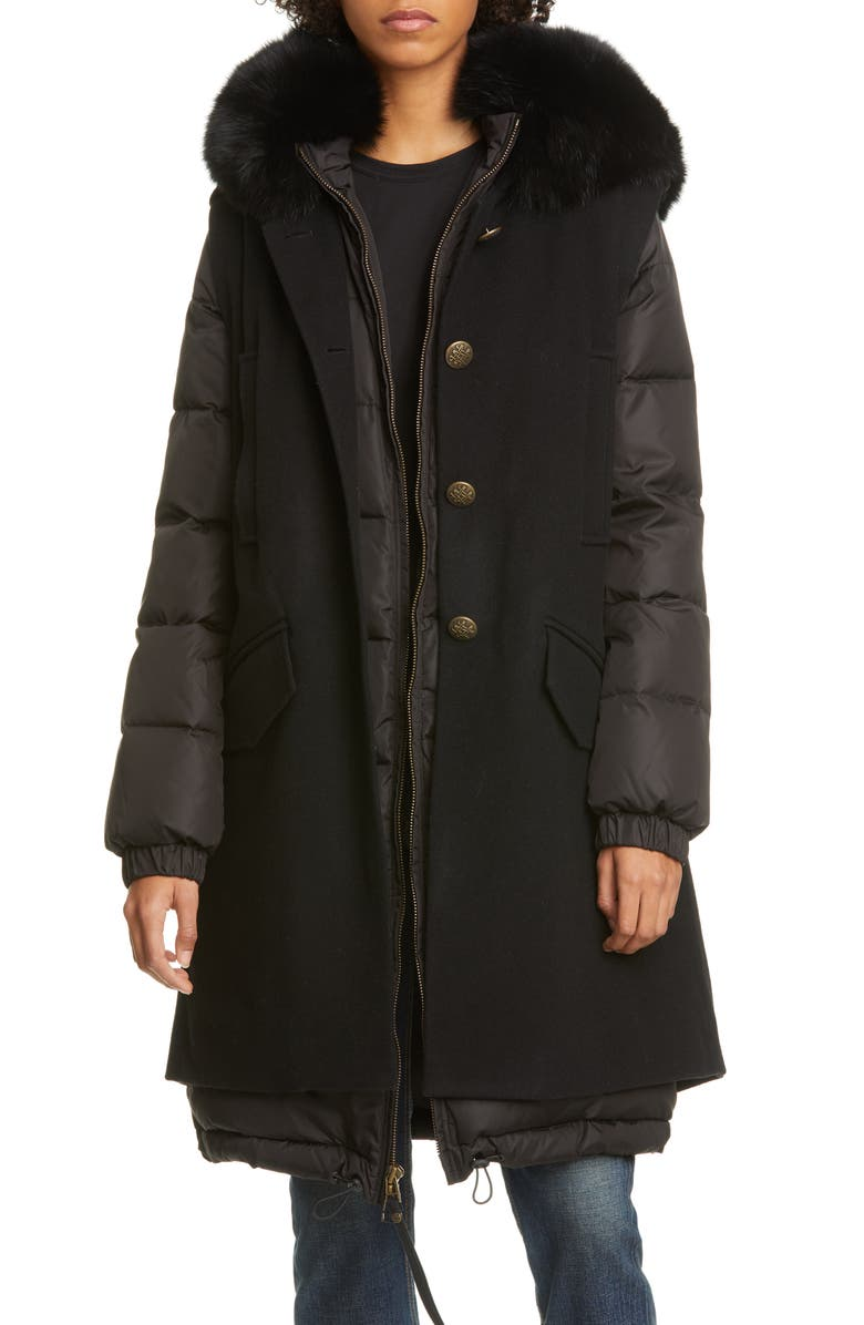 MR & MRS ITALY 2-in-1 Down Puffer Coat with Genuine Fox Fur Trim, Main, color, BLACK