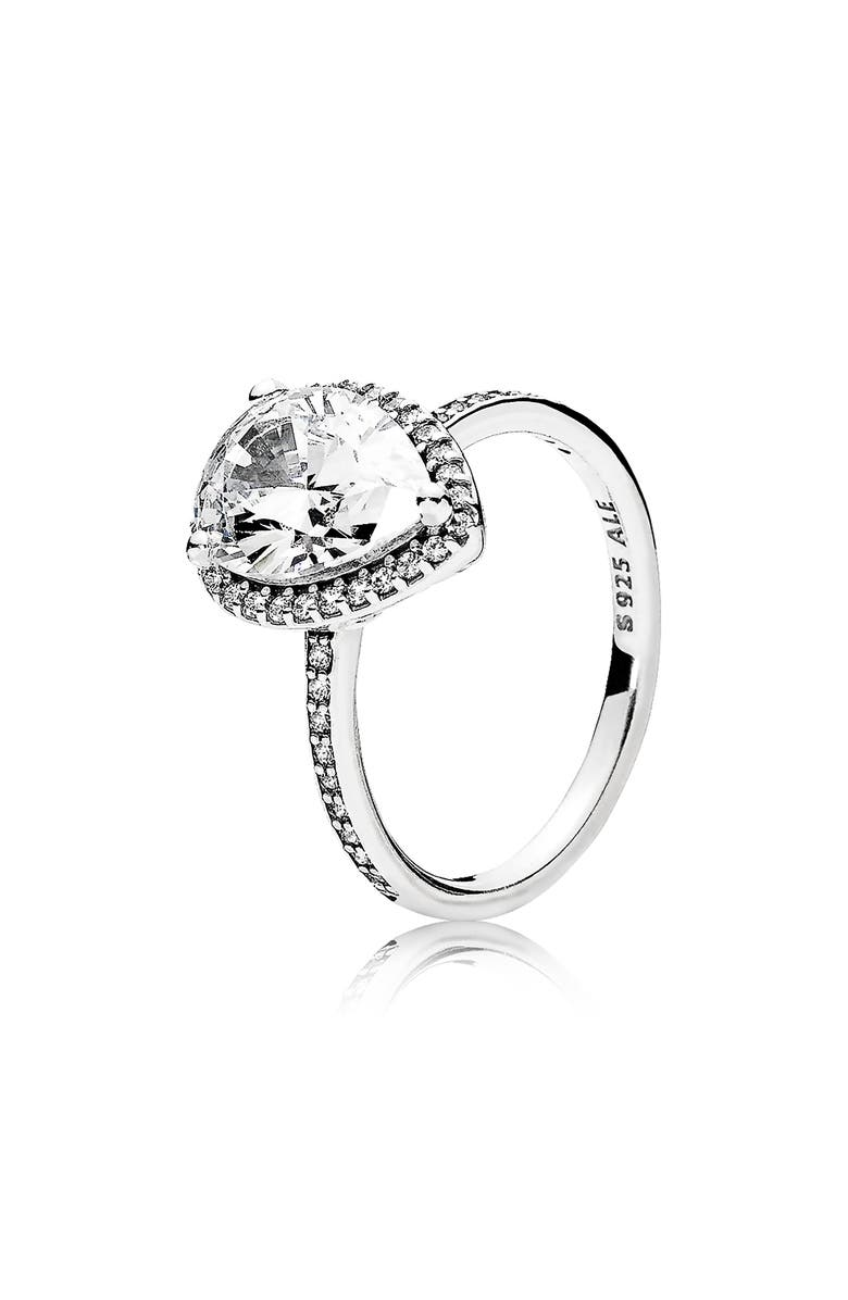 PANDORA Radiant Teardrop Ring, Main, color, SILVER