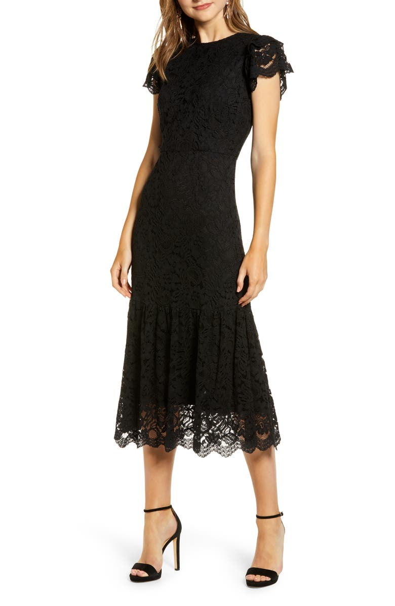 RACHEL PARCELL Lace Midi Dress, Main, color, 001