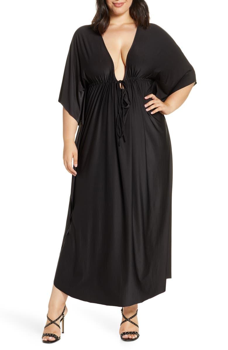 COLDESINA Tie Front Caftan Maxi Dress, Main, color, 001