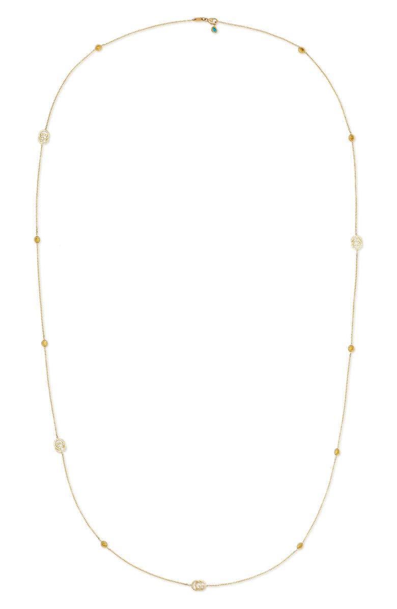 GUCCI Double-G Station Necklace, Main, color, YELLOW GOLD