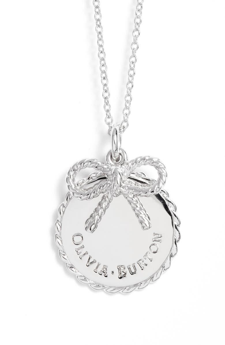 OLIVIA BURTON Coin Bow Pendant Necklace, Main, color, 049