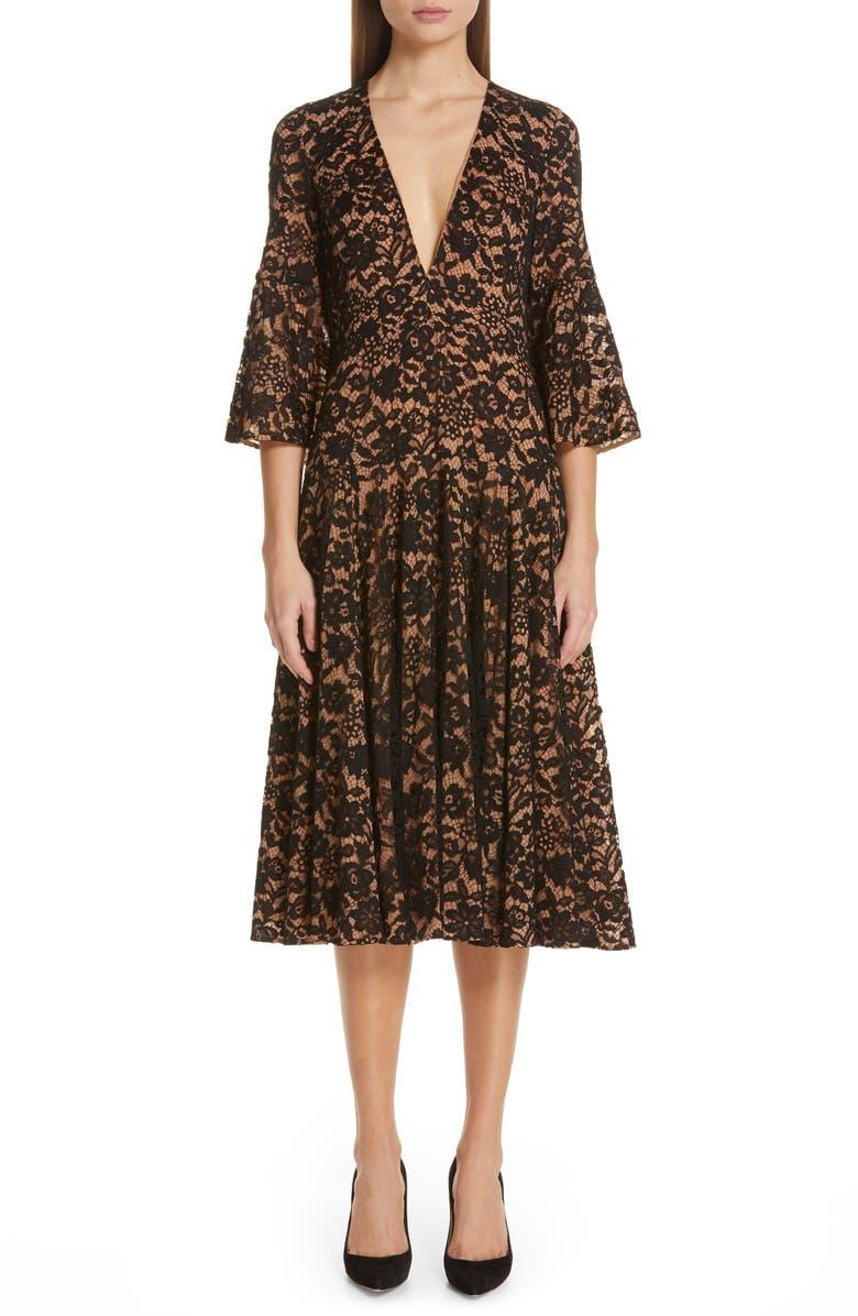 MICHAEL KORS Bell Lace Dress, Main, color, 001