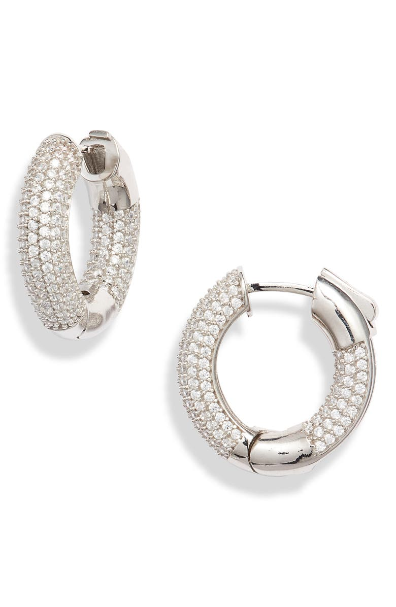 ADINA'S JEWELS Mini Tire Hoop Earrings, Main, color, SILVER