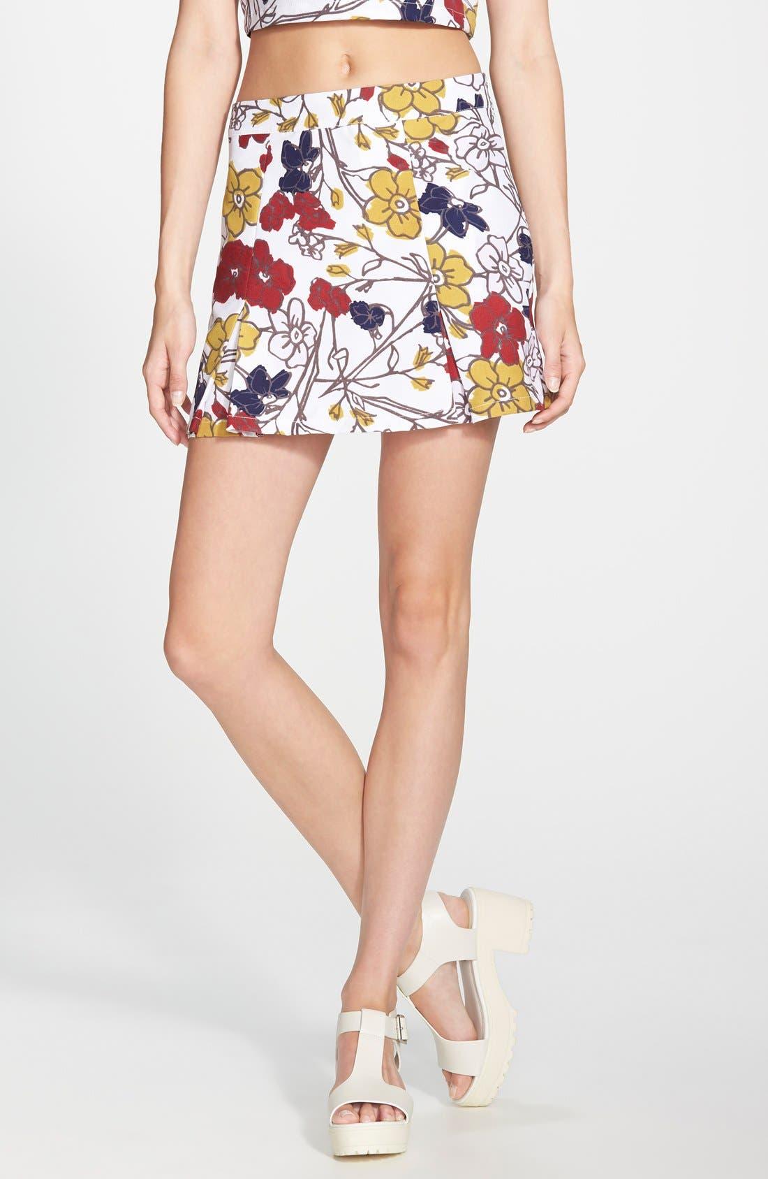 ,                             Floral Tennis Skirt,                             Main thumbnail 4, color,                             100